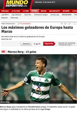 Los máximos goleadores de Europa hasta Marzo